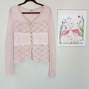 Free People light blush pink wool blend sweater